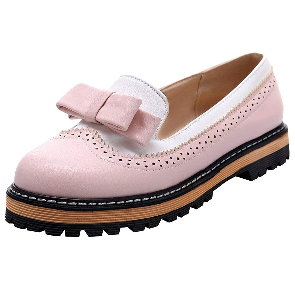 Dermanony Women's Slip on Loafers Fashion Low Heel Bowknot Casual Shoes Oxfords Leather Shoes Single Shoes Pink by Dermanony _Shoes