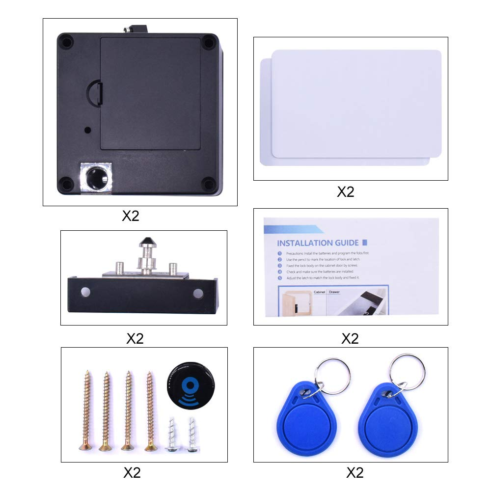 [2 pack] Gexmil Electronic Cabinet RFID Lock Kit Set, Hidden DIY Lock for Wooden Cabinet Drawer Locker, RFID Card/Tag Entry by Gexmil (Image #6)