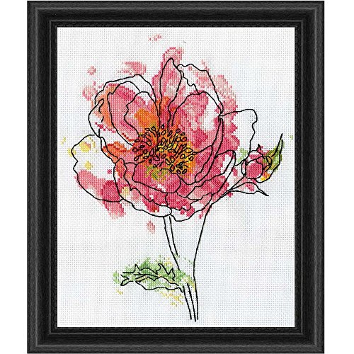 """Pink Floral Counted Cross Stitch Kit-8""""X10"""" 14 Count"""