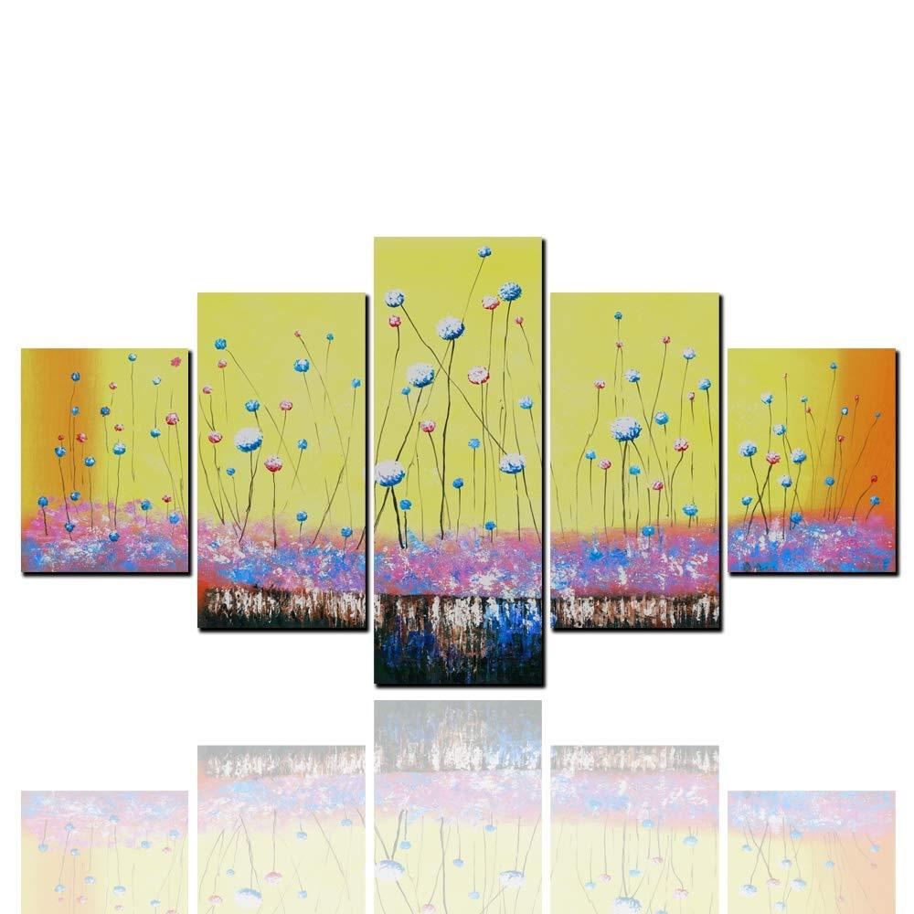Sanqing Pintura al óleo Arte Pared decoración Moderno Abstracto HD Inkjet 5 Piezas combinación Diente de León Sala de Estar casa (Imagen núcleo + Marco) ...