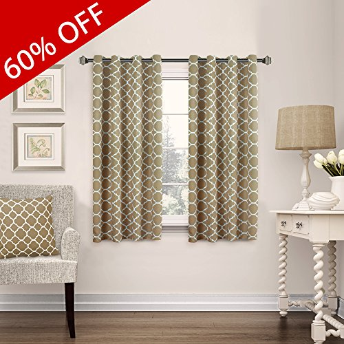 FlamingoP Home Decorations Thermal Insulated Moroccan Blackout Drapes Printed Window Curtains for Living Room, Grommet Top, Set of Two Panels, each 63 by 52- (Polyester Screen Printed)