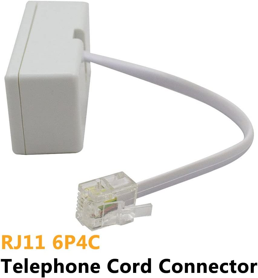 Cable RJ11 6P4C Telephone Wall Adaptor and Separator Male to 2 Female Converter for Landline White,2 Pack Two Way Telephone Splitters