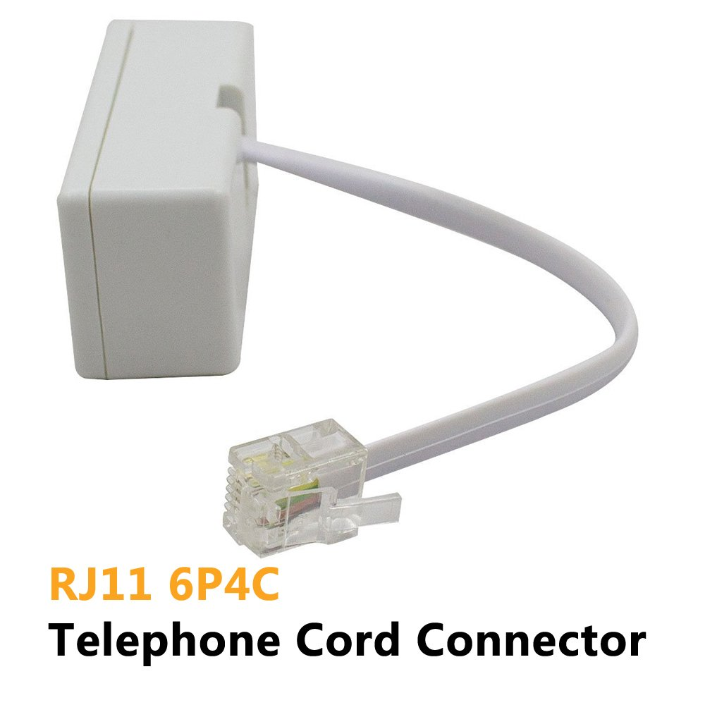 Two Way Telephone Splittersuvital Male To 2 Female Wiring Cable Converter Rj11 6p4c Wall Adaptor And Separator For Landlinewhite2 Pack