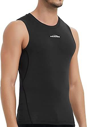 Men/'s Compression Top Running Basketball Gym Workout Tank Top Spandex Cool Dry