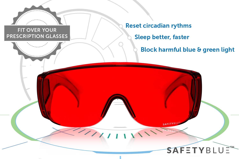 Sleep Savior™ Fitover Glasses - Anti-Blue & Green Blocking Glasses | Fit Over Most Prescription Eyeglasses | Better Night Sleep & Reduce Eyestrain & Insomnia | for Women and Men