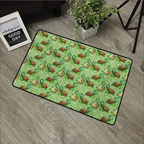 Door mat W35 x L59 INCH Nursery,Pattern with Cartoon Funny Turtles on Green Spring Meadow with Daisies,Green Brown Sand Brown Easy to Clean, no Deformation, no Fading Non-Slip Door Mat Carpet
