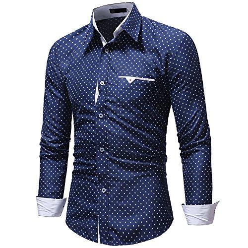 Blouse Shirt À Longues Pois Carreaux Col Fit Tops Chemise Slim Keerads Manches Rabattu Décontractée Automne Bleu Hommes xwqnU8C6A
