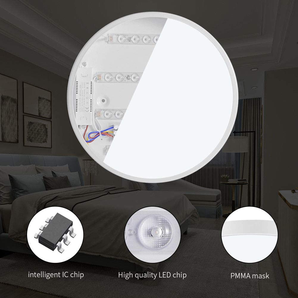 Bright Round LED Ceiling Down Light Panel Wall Kitchen Bathroom Warm Cool White