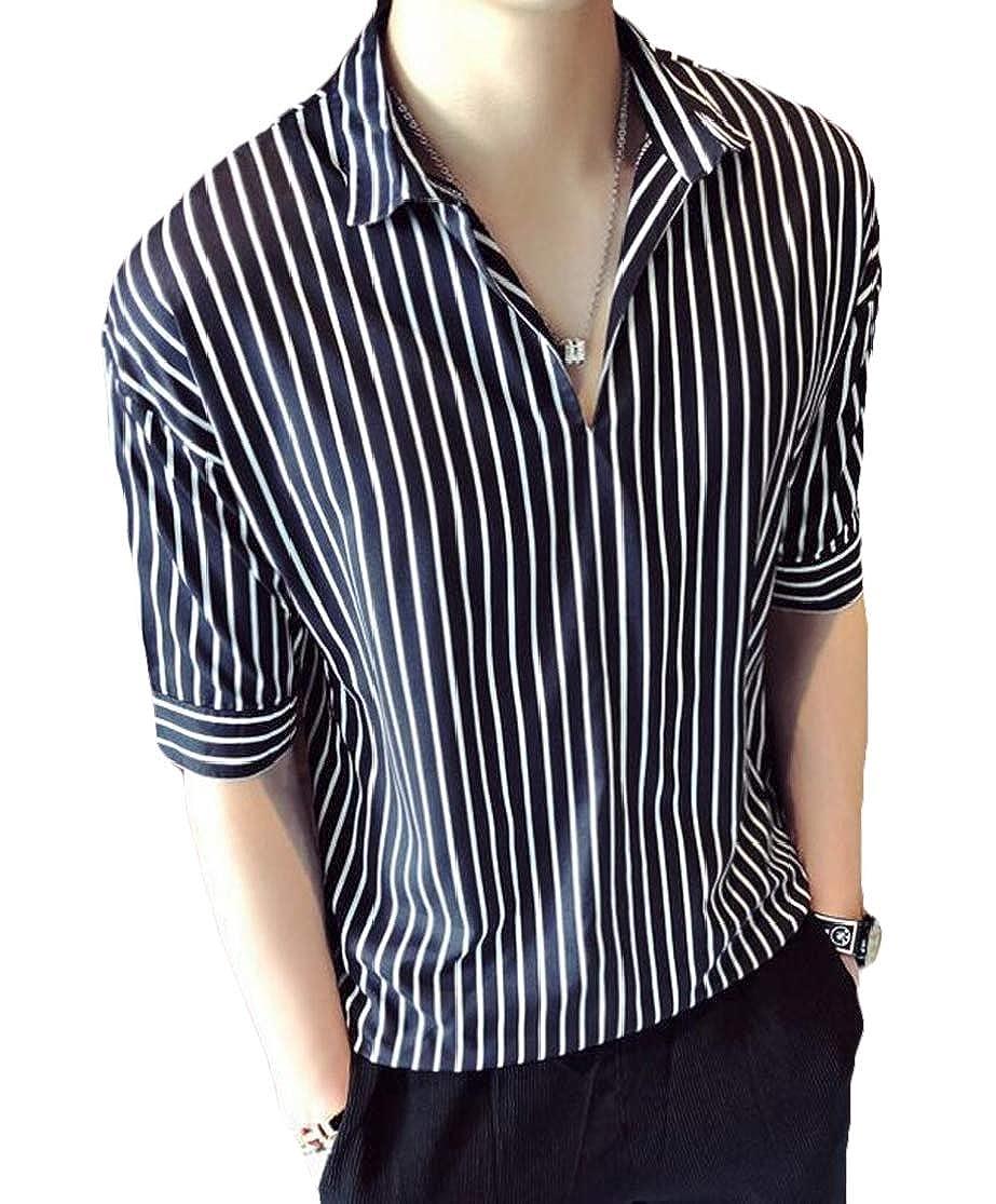 KLJR Men Spread Collar 1//2 Sleeve Shirt Colorblock Casual Striped T-Shirt