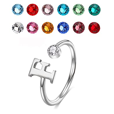 1602c96e0 925 Sterling Silver Personalized Initial Name Ring with Simulated Birthstone  Cusotm Initial Alphabet Letter Adjustable Size Stackable CZ End Wrap Open  Ring