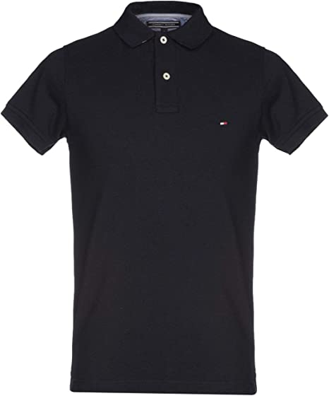 Tommy Hilfiger Polo Mens Slim Fit Interlock Solid Collared Shirt Casual Logo