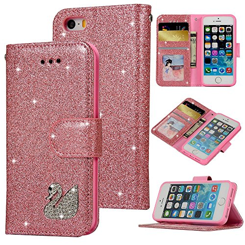 Wireless Clip Leather Solutions (iPhone SE Case, iPhone 5S Wallet Flip Folio Case Kickstand Card Slots Shiny Diamonds Swan Bling PU Leather Wallet Case Shockproof Soft TPU Bumper Shell Slim Fit Protective Skin Cover for iPhone 5)