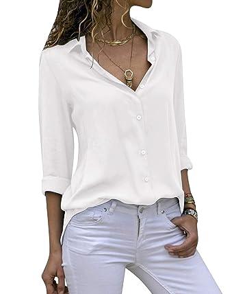 148e278e01ec Cassiecy Chemisier Femme Mode Manche Longue Casual Col V Tunique Top Haut  Blouse (S