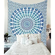 Blue Cotton Intricate Floral Designs Indian Traditional Queen Hippie Mandala Picnic Bohemian Boho Tapestry Bedspread Magical Thinking Large Tapestry