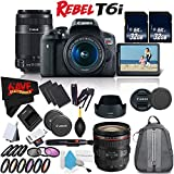 6Ave Canon EOS Rebel T6i DSLR Camera with 18-55mm Lens, 55-250mm Lens and 24-70mm - 3 Lens Combo