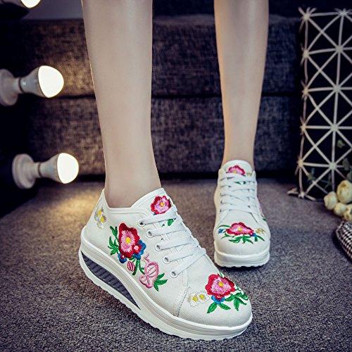 Blanc Fanwer Skylar Plate Wedge Brodée Sneakers Toile Chaussures Tone forme Walking 0wOknP