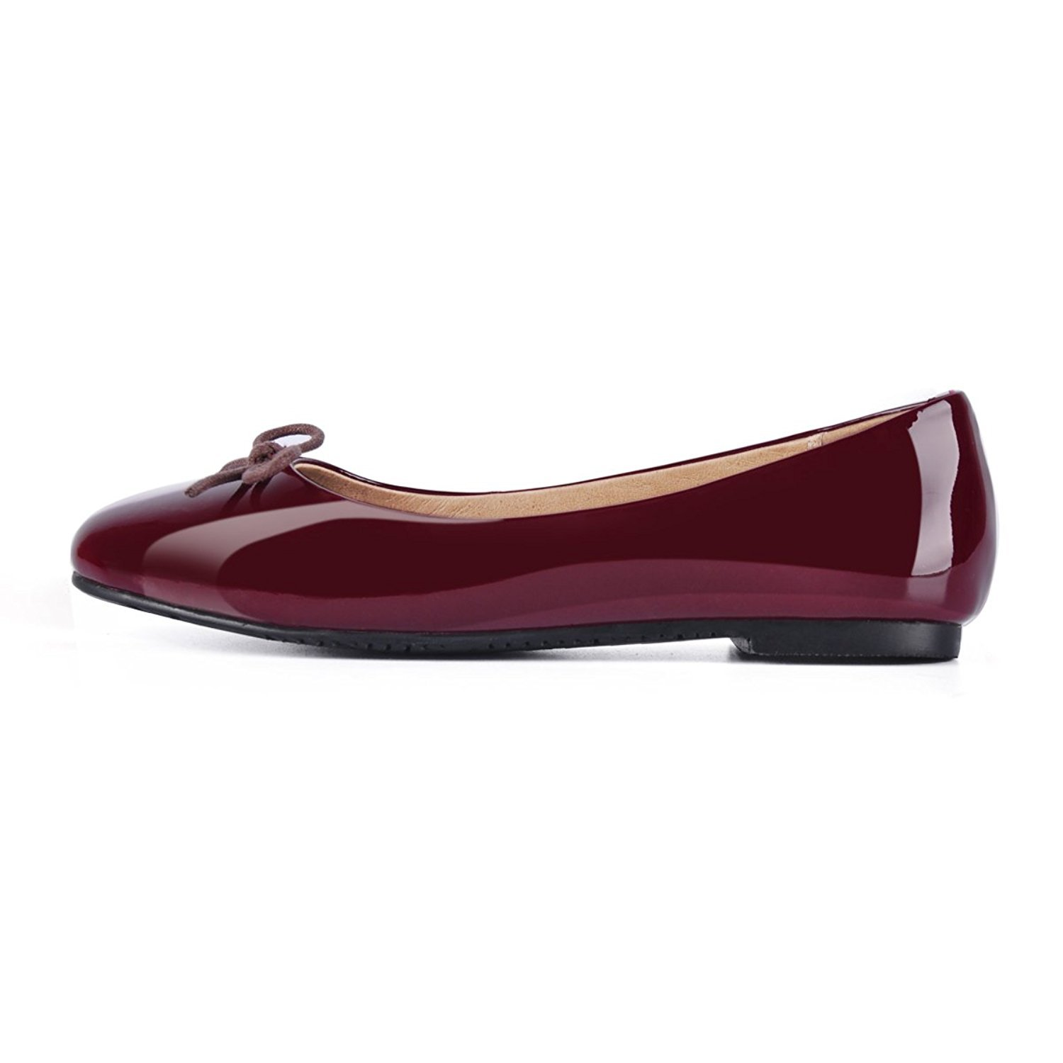 Joogo Women Round Toe Ballet Flats with Bow Tie Slip B0788G8QQ2 On Casual Comfortable Shoes B0788G8QQ2 Slip 12 B(M) US|Wine Red f4a813