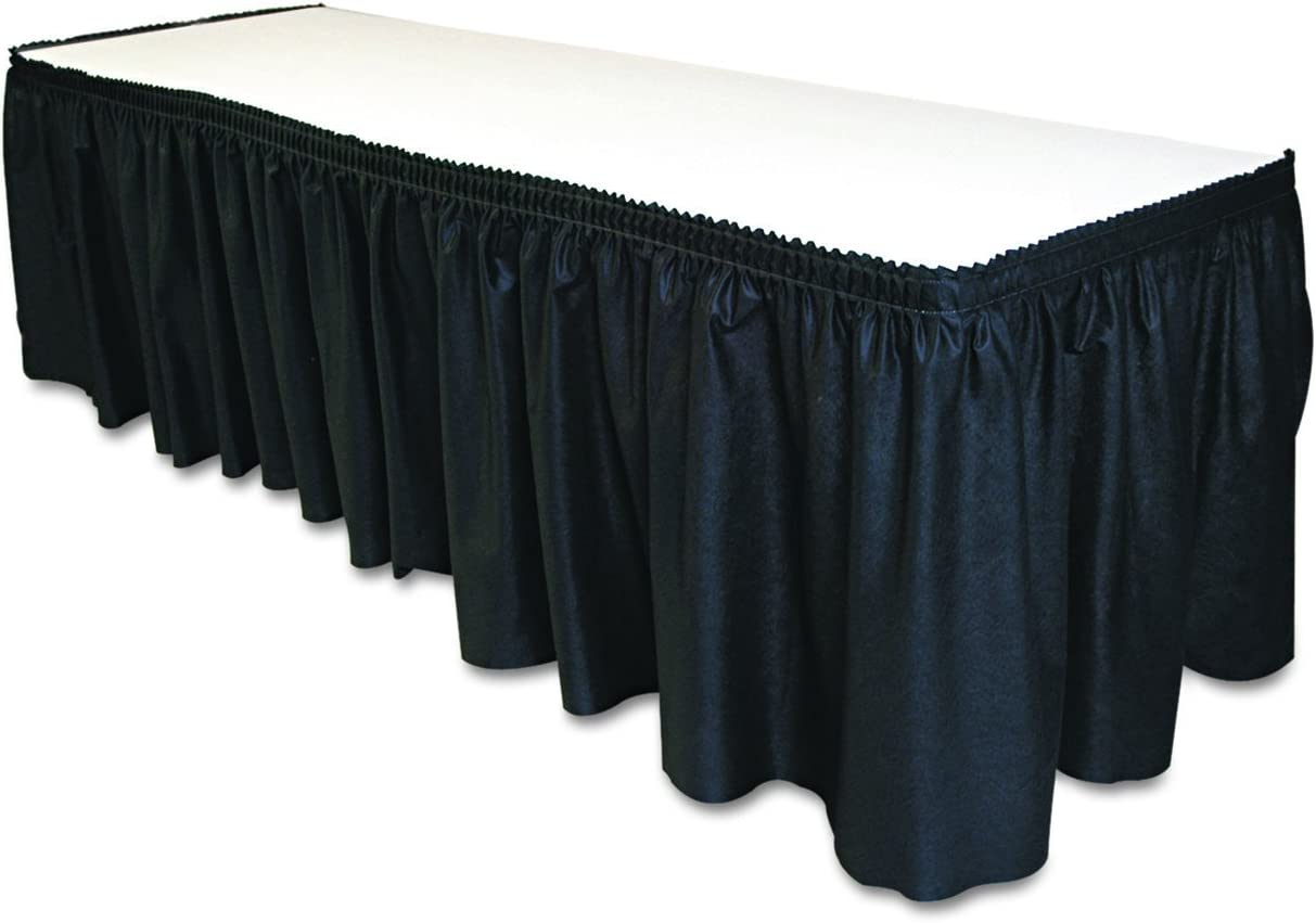 """Tablemate TBLLS2914BK Disposable Linen-Like Table Skirt, Self-Adhesive, 29"""" x 14', Black"""