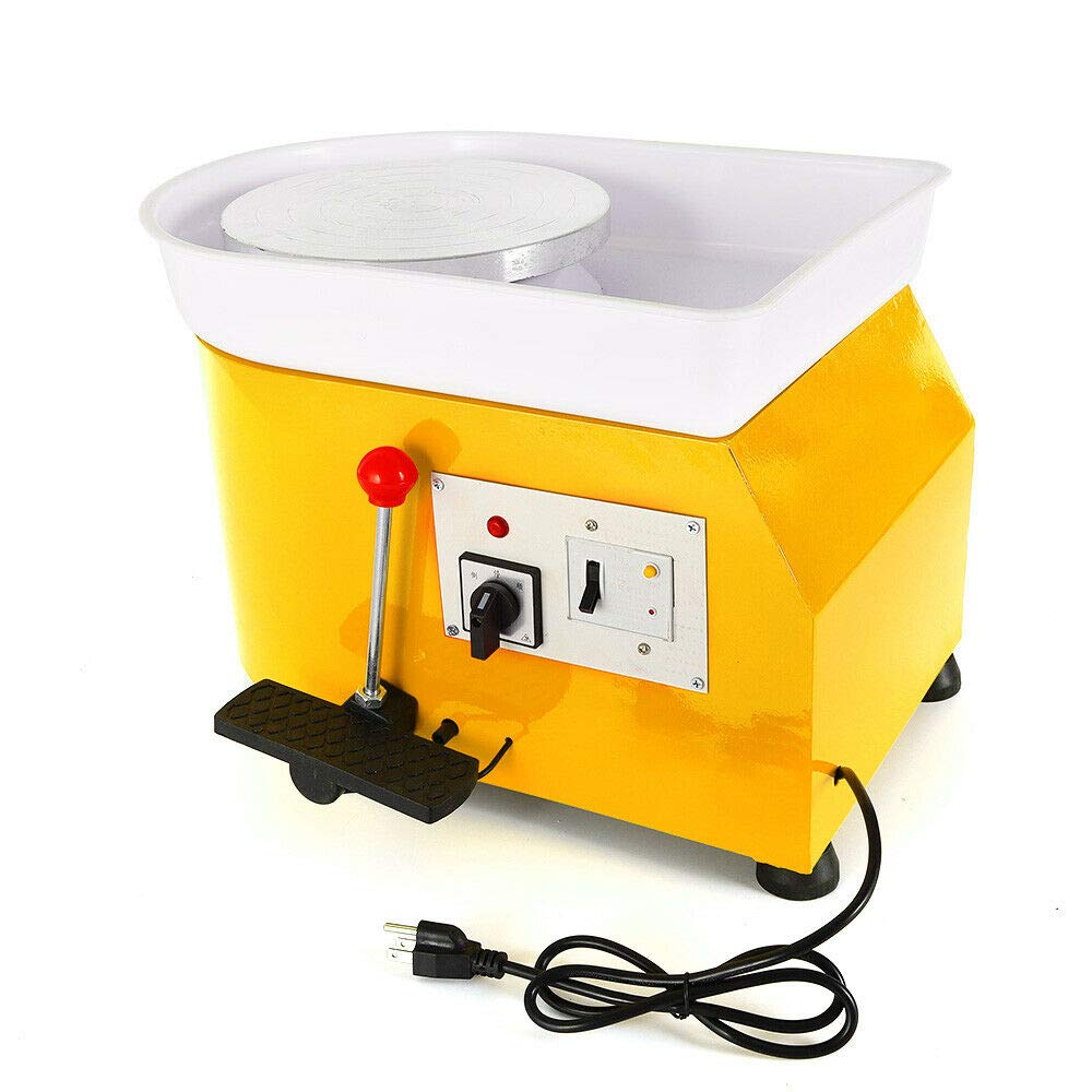 Pottery Wheel 25cm Pottery Forming Machine 250W Electric Pottery Wheel DIY Clay Tool with Tray for Ceramic Work Ceramics Clay China Art 110V (Yellow)