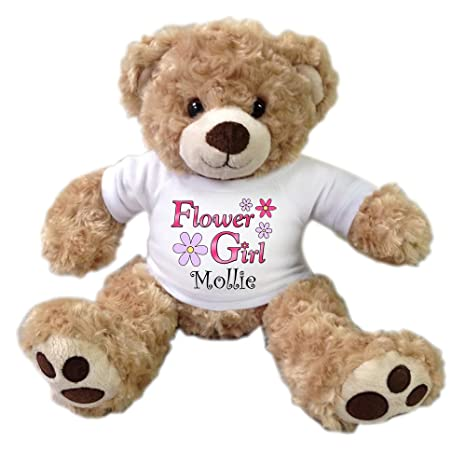 1420664576d Image Unavailable. Image not available for. Color  Flower Girl Personalized  Teddy Bear - 13 inch Honey Vera Bear