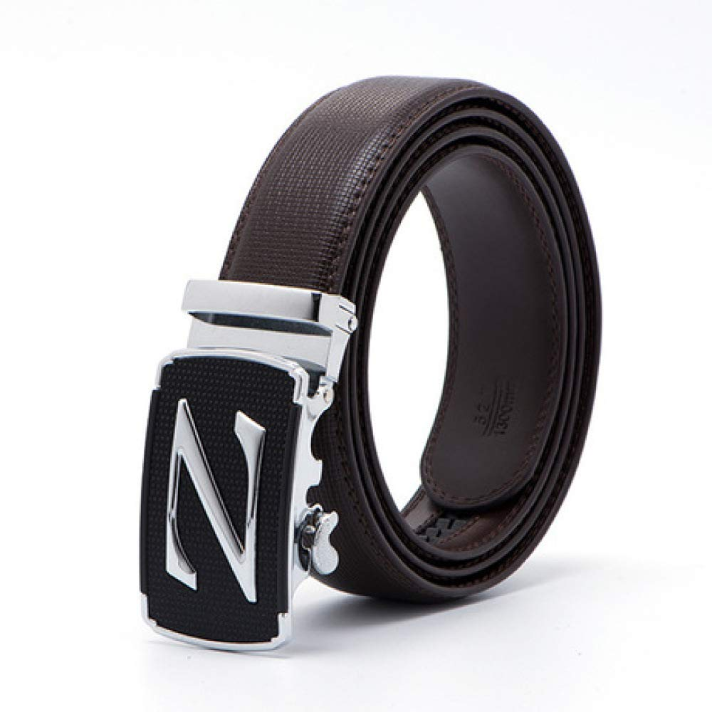 DENGDAI Mens Leather Belt Automatic Buckle Belt Mens Belt Pants Length 100-135cm
