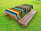 Lunarable Striped Outdoor Tablecloth, Mexican Inspirations in Hand Made Horizontal Lines with Woven Ornamental Style, Decorative Washable Picnic Table Cloth, 58 X 104 Inches, Multicolor