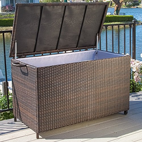 Best Selling Home Decor Furniture Anistan 54 in. 150-Gallon Wicker Deck Box by Best Selling Home