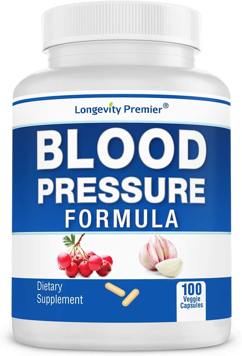 Longevity Blood Pressure Formula 100 Capsules – with 12 Natural Herbs. Best Blood Pressure Supplement