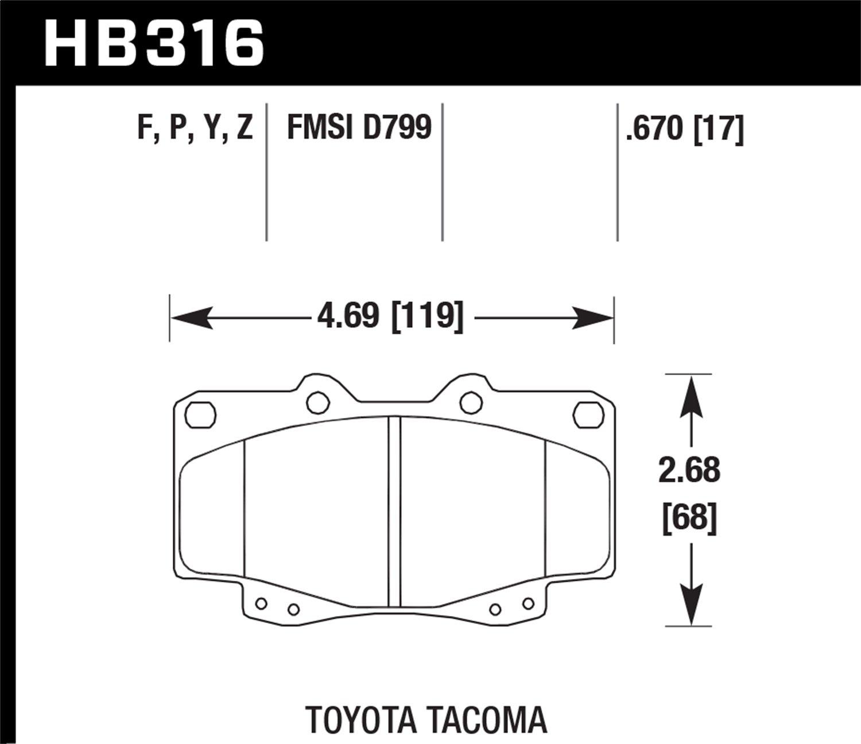 Hawk Performance HB316Y.670 LTS Brake Pad