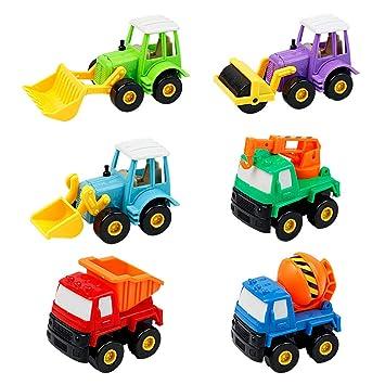 Plastico Juguetes de Coches Camiónes Vehículos Construcción Niños Niña 3 Años Color al azar (6 Pedazos)