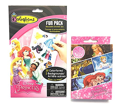Disney Princess Jumbo Playing Cards with instructions for Crazy Eights, Go Fish, Rummy, Snap & More Plus Colorforms Fun Pack Featuring Reusable Stickers