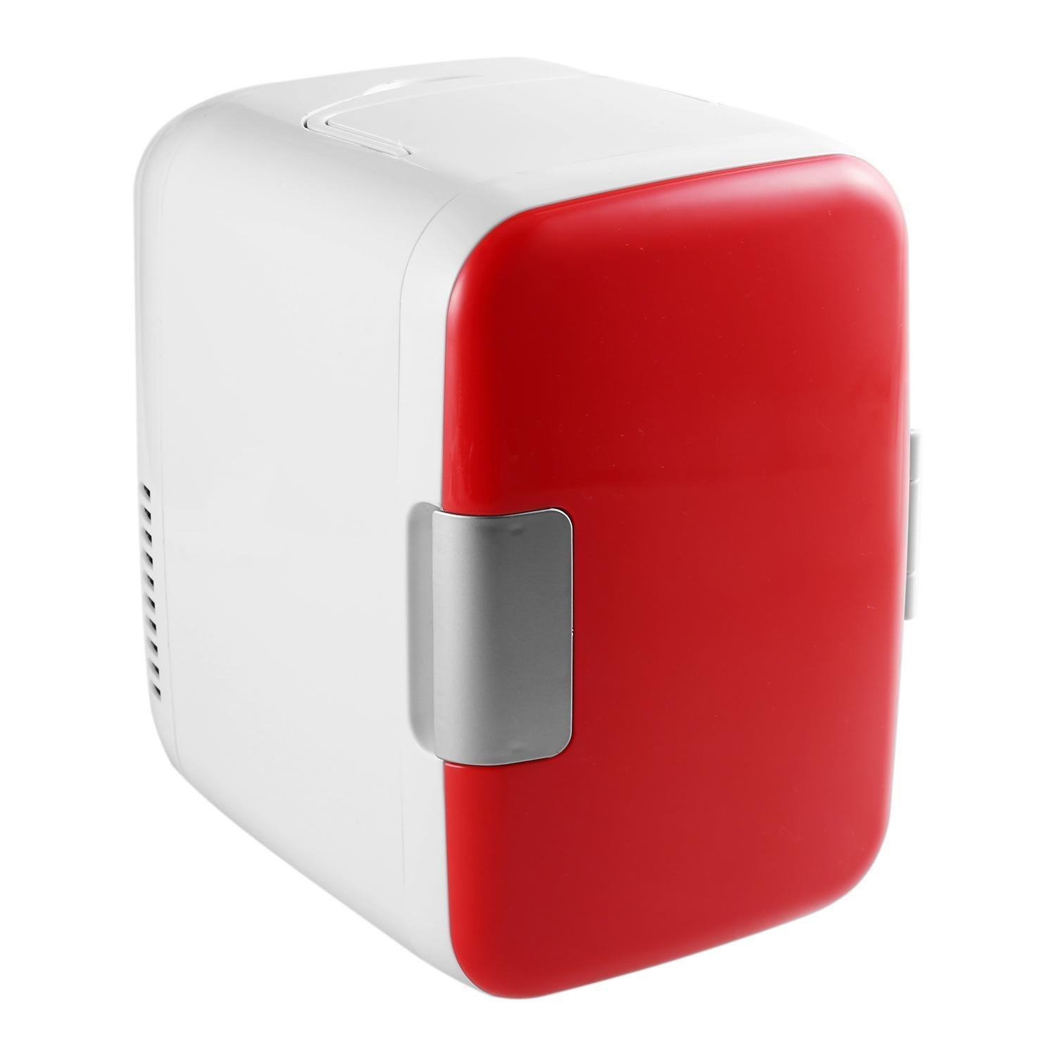 Portable Mini Fridge for Car Home Office 4 Liter 6 Can Cooler and Warmer AC & DC 110V (Red)