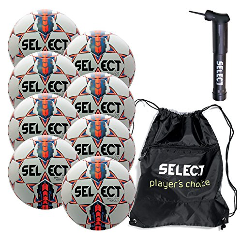 Select Brilliant Super Replica Soccer Ball with Sack Pack & Hand Pump (Pack of 8), White/Blue/Orange, Size 5 (Select Soccer Ball Brilliant)