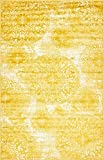 Modern Vintage Inspired Overdyed Area Rugs Yellow 5' x 8' FT Wembley Rug -...