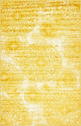Modern Vintage Inspired Overdyed Area Rugs Yellow 5' x 8' FT Wembley Rug - modern & Traditional rugs for living room - rugs for dining room & bedroom - Floor Carpet
