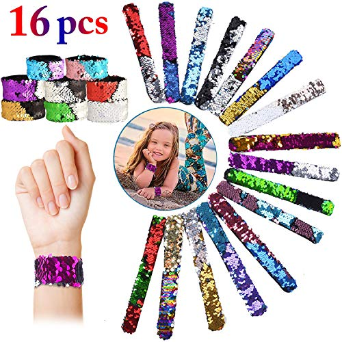 Outgeek Mermaid Slap Bracelet, 16 PCS Mermaid Slap Sequin Magic 16Color Flip Sequin Bracelet Hair Band Clasp Reversible Mermaid Slap Wristband Charm for Girls Boys Women Party Birthday