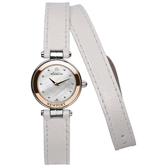 Michel Herbelin Newport Yacht Club Reloj mujer Blanco/Plata/roségoldfarben 17455 K-24-NC/tr19blal: Amazon.es: Relojes