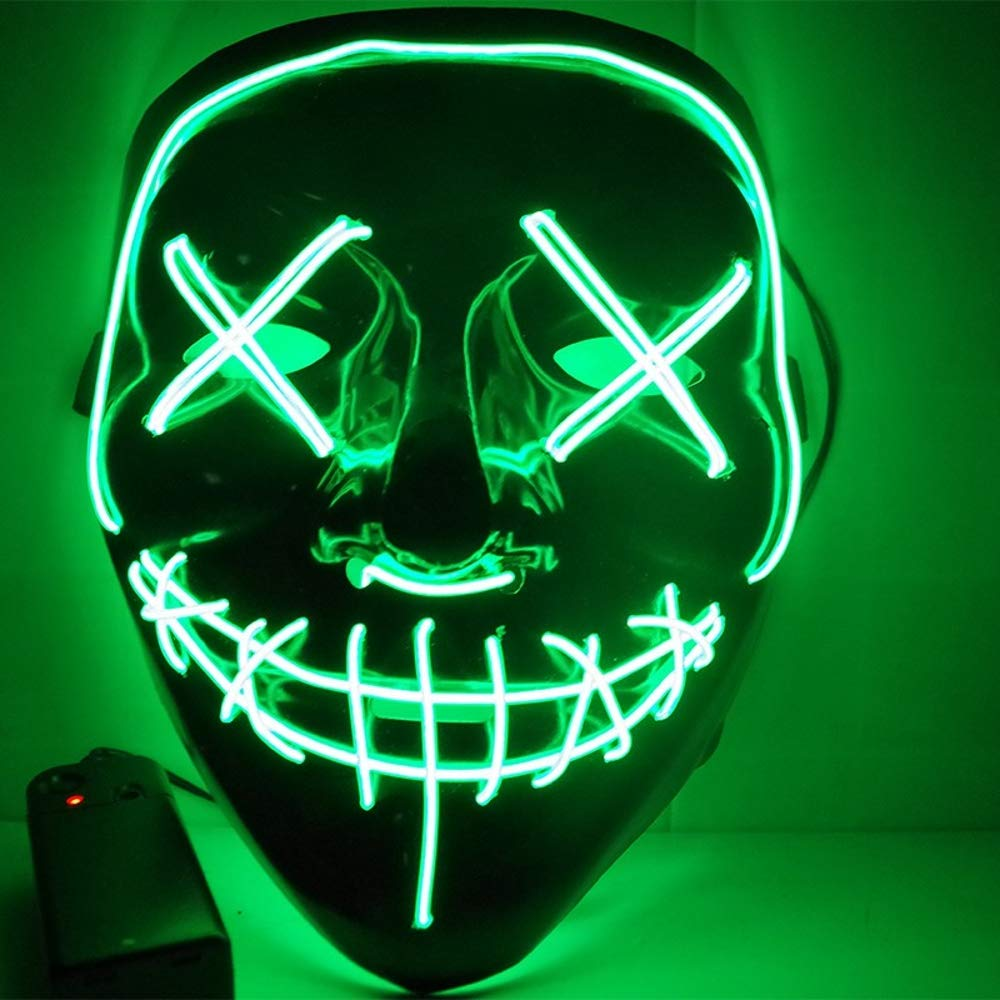 Halloween Mask Light Up V Mask EL Wire LED Scary Mask for Festival Parties Costume Purple Fakes Masquerades