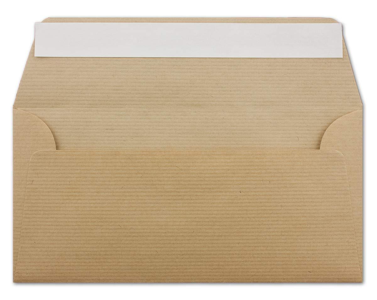 500 DIN Lang Briefumschläge Kraftpapier gerippt - 11 x 22 cm - 100 g m² - Gerade Klappe mit Haftklebung Umschläge ohne Fenster - Glüxx-Agent B07PGGCYNM | Gutes Design  | Grüne, neue Technologie  | Hohe Qualität und Wirtschaftlichkeit