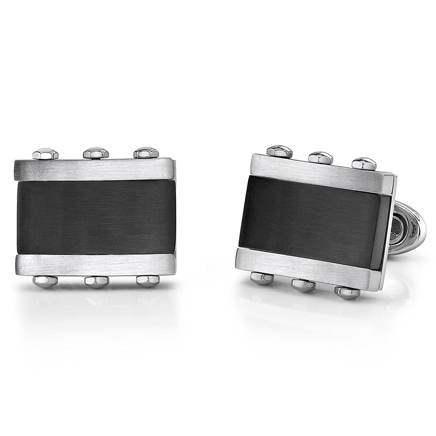 Stainless Steel Rectangular Cufflinks for Men with Black Onyx Inlay