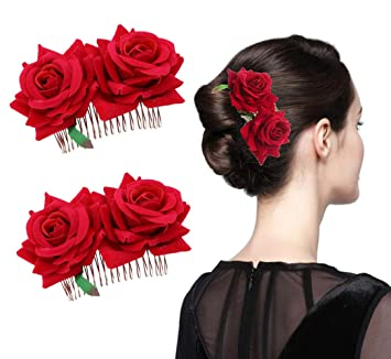 Amazon Com 2 Pcs Red Imitation Rose Flower Decoration Hair