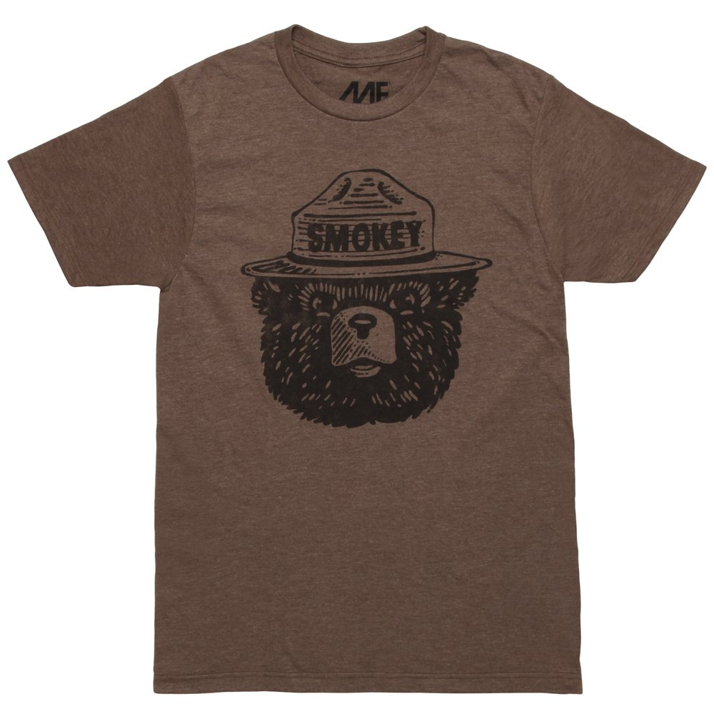Mighty Fine Smokey The Bear Face Adult T-Shirt - Brown (Large)