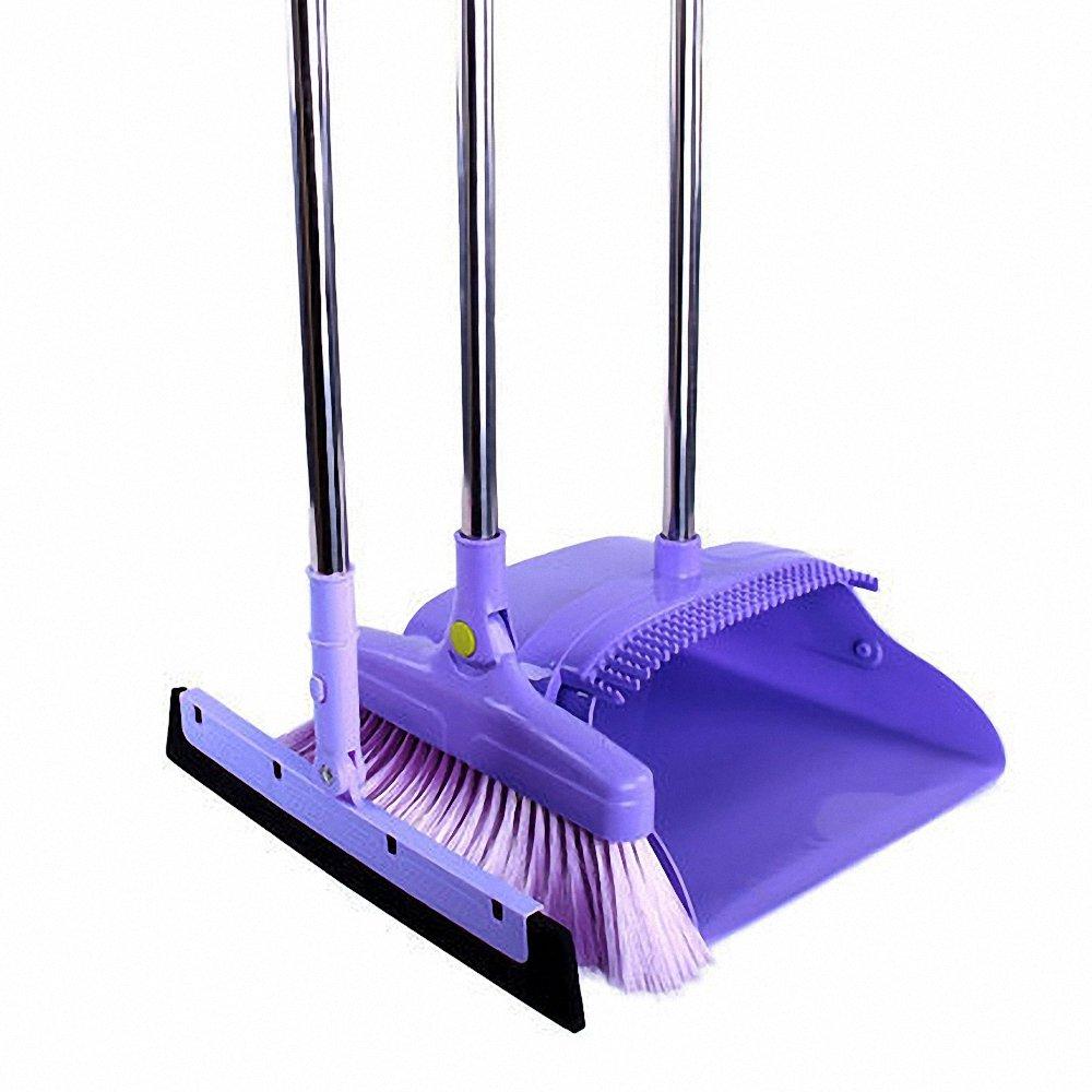 Aooper 3PCS Purple Long Handle Standing Upright Foldable Set Broom Set Home Kitchen Office Bathroom Modern Comfort Grip - Flexible & Durable Sweeper
