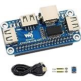 Ethernet/USB HUB HAT Expansion Board for Raspberry Pi 4 B/3 B+/3 B/2 B/Zero/Zero W/Zero WH, with 1 RJ45 10/100M Ethernet Port