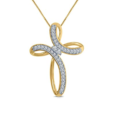 6691c487380bf 1/10 Cttw Round White Natural Diamond 10K Yellow Gold Cross Diamond Pendant  Necklace Easter Gift Sales
