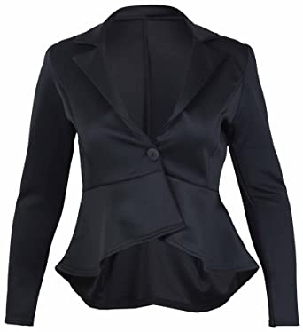 21517658d611c Womens New Peplum Frill Fitted Jackets Ladies Long Sleeve Flared Slim Fit  Blazer Jacket Plus Size  Amazon.co.uk  Clothing