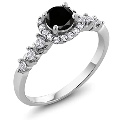 0 97 Ct Round Black Diamond And White Created Sapphire 925 Sterling Silver En Ement Ring Size
