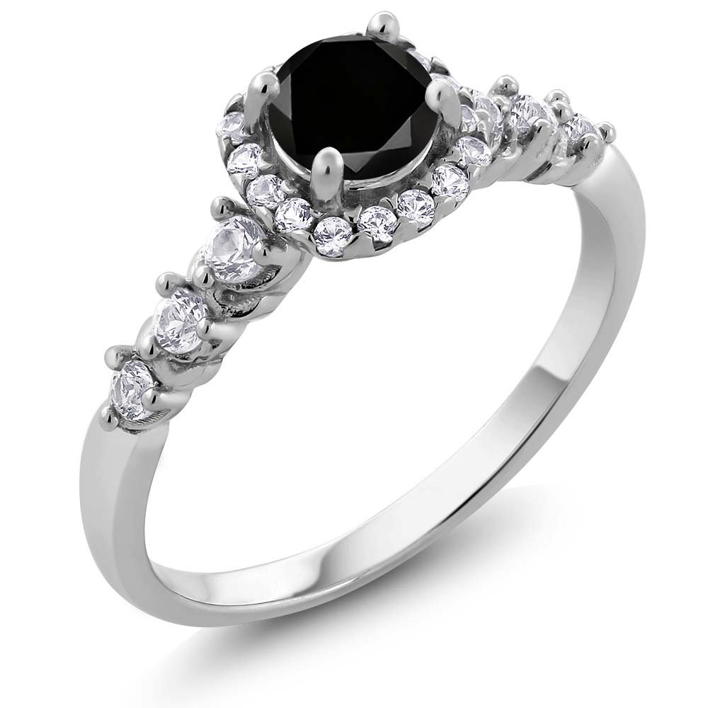 0.97 Ct Round Black Diamond and White Created Sapphire 925 Sterling Silver Engagement Ring (Available in size 5, 6, 7, 8, 9)