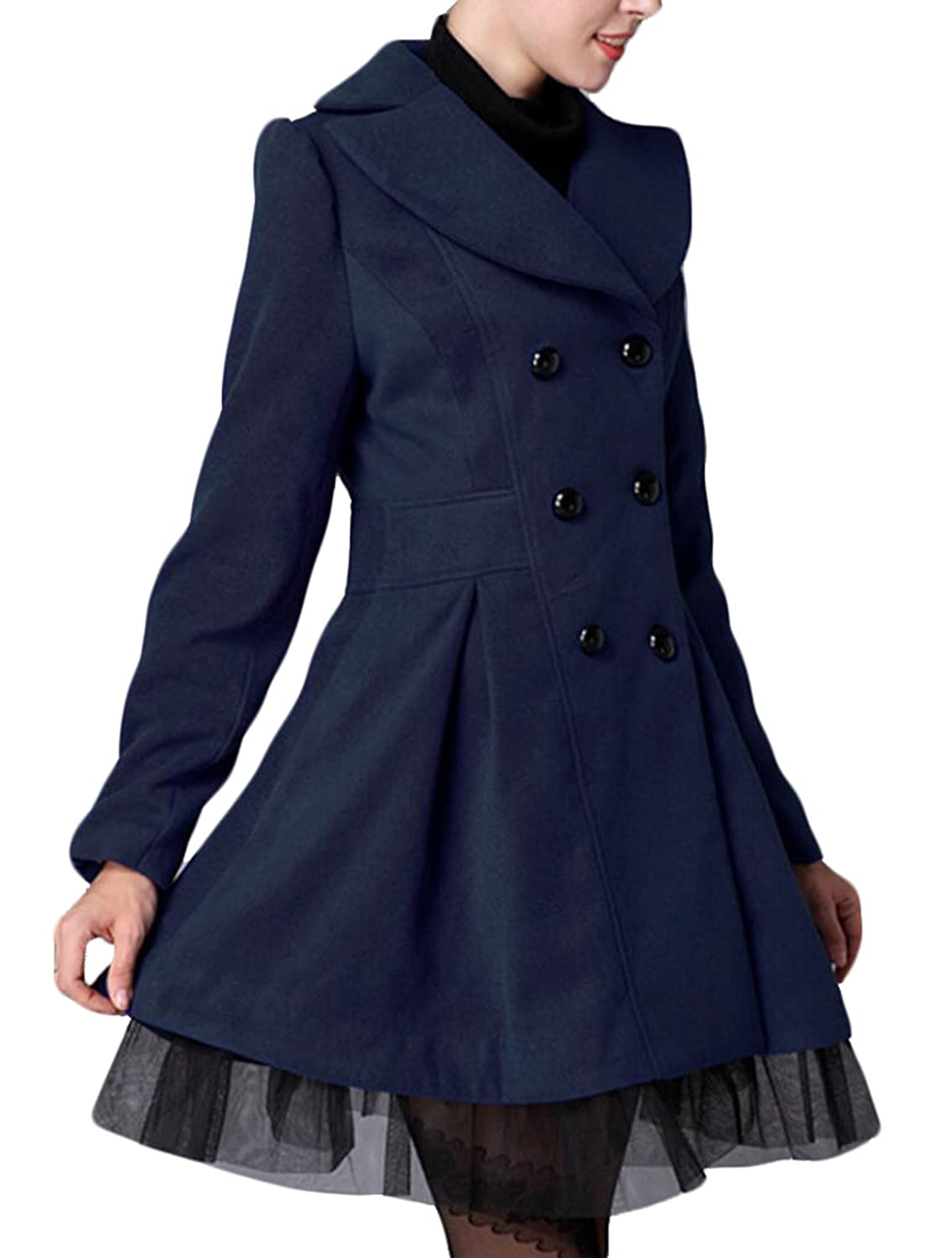 GAGA Women's Lace Double-breasted Wool Trench Coat Jacket