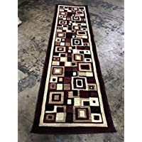 Modern Long Rug Runner 32 In. X 15 Ft. 10 In. Burgundy Design # 125